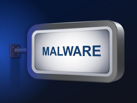 malware: malware word on billboard over blue background