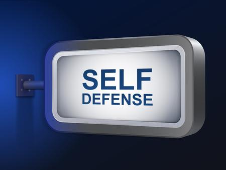 self defense: palabras de defensa personal en cartelera m�s de fondo azul