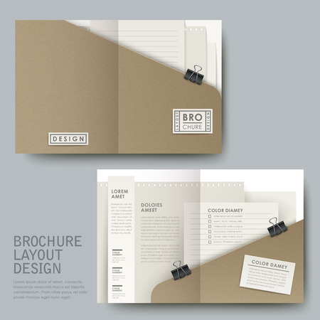 dossier: modern half-fold template for business advertising in open file look Illustration