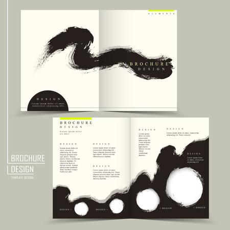 비즈니스 광고 안내 책자에 대 한 중국 서예 반 배 템플릿 일러스트