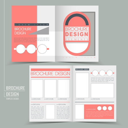 for advertising: modern geometric style half-fold template for business advertising brochure in pink