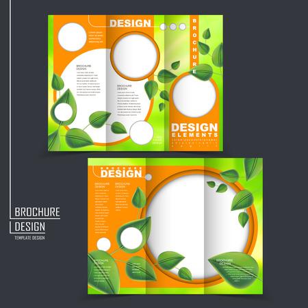 グリーンとオレンジ色のリーフ要素にエコロジー概念三つ折りテンプレート パンフレット  イラスト・ベクター素材