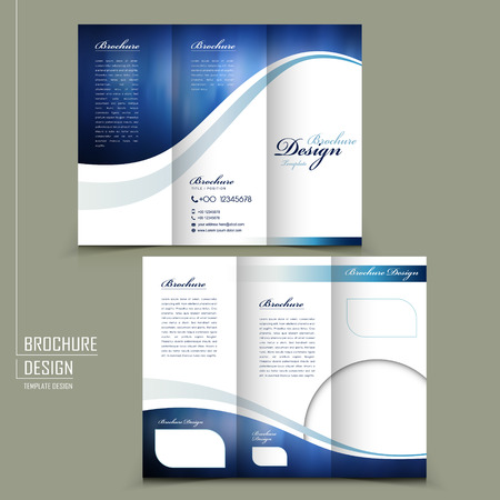 modern style tri-fold template for business advertising brochure in blue  イラスト・ベクター素材
