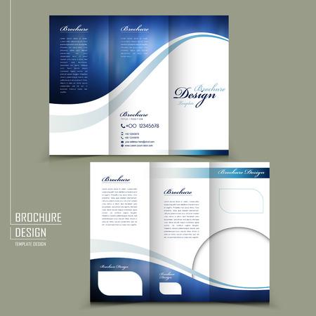 Style moderne tri-fold modèle pour brochure publicitaire de l'entreprise en bleu Banque d'images - 31024146