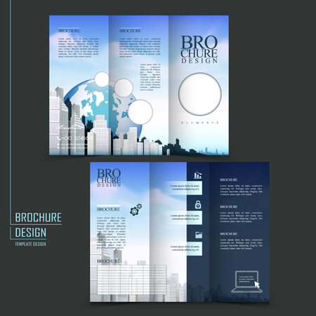 modern style tri-fold template for business advertising brochure with earth and buildings elements Vector