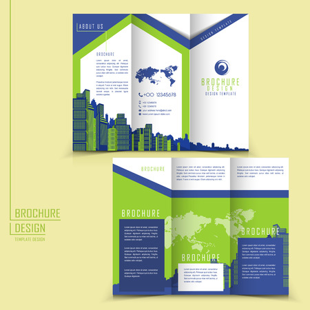 modern style tri-fold template for business advertising brochure with buildings elements Vector