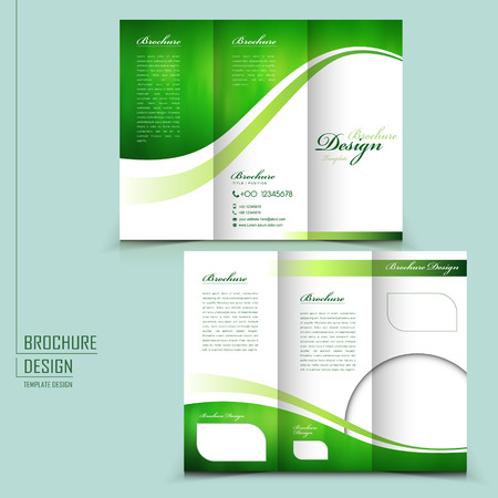 modern style tri-fold template for business advertising brochure in green 向量圖像