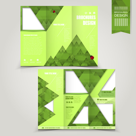 bionomics: green template for ecology concept brochure with mountains and ladybugs