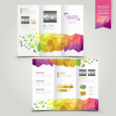 modern template for advertising concept brochure with geometric shapes element Çizim