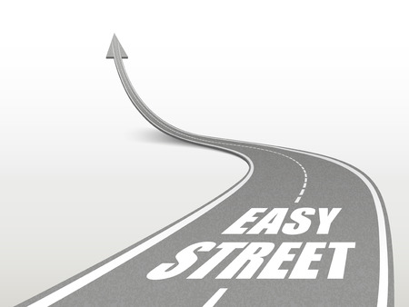 easy going: easy street words on highway road going up as an arrow