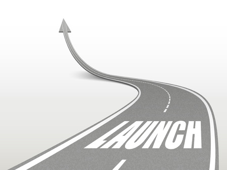 establishing: launch word on highway road going up as an arrow Illustration