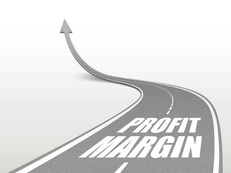 margin: profit margin words on highway road going up as an arrow