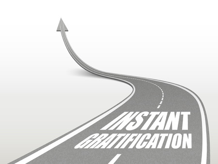 gratification: instant gratification words on highway road going up as an arrow