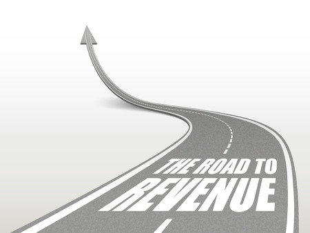 profitable: the road to revenue words on highway road going up as an arrow