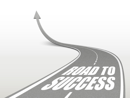 surpass: road to success words on highway road going up as an arrow Illustration