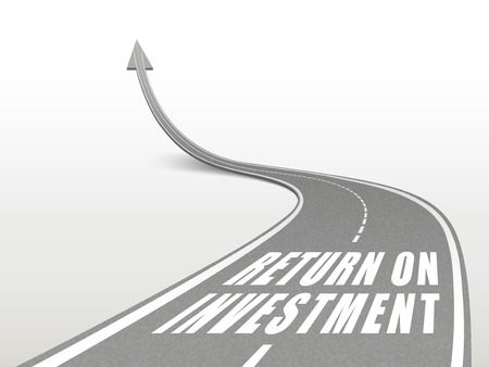 stock market return: return on investment words on highway road going up as an arrow Illustration