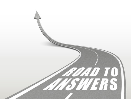 answers highway: road to answers words on highway road going up as an arrow Illustration