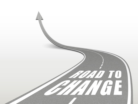 encouragement: road to change words on highway road going up as an arrow