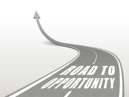 adapt: road to opportunity words on highway road going up as an arrow