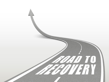 road to recovery words on highway road going up as an arrow Vector