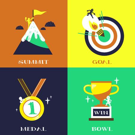 rewarding: flat design for success concepts set of summit, goal, medal, golden bowl