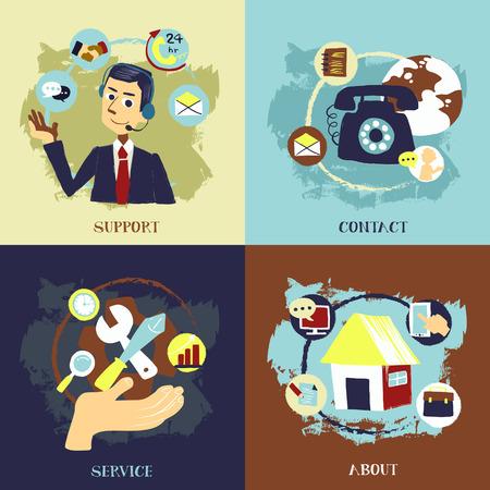 flat design for business customer service concepts set  Vector