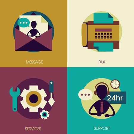 mobile operators: flat design for customer service concepts set