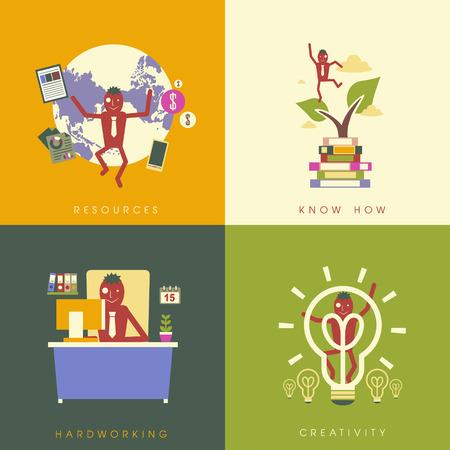 flat design for business success concepts set