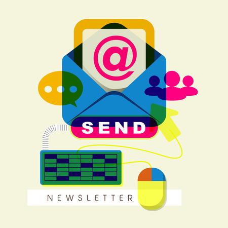 flat design for modern newsletter concept graphic  Vector