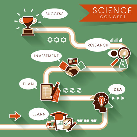 flat design for education and science concepts graphic  Vector