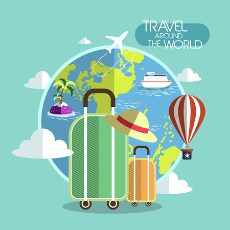 business trip: flat design for travel around the world concept graphic  Illustration