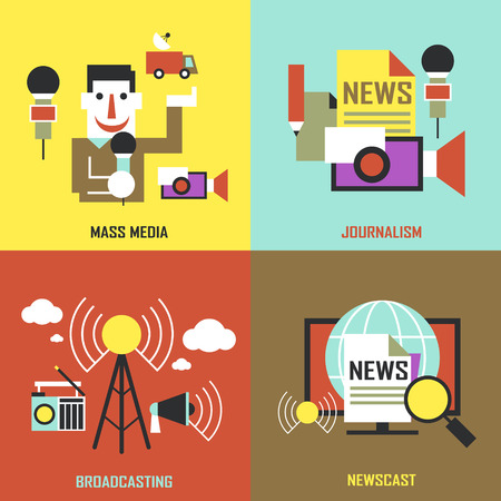 news van: flat design for the news industry concepts graphic