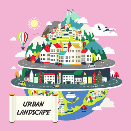 cartoon earth: flat design for the urban landscape graphic