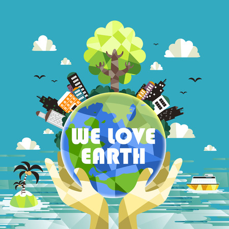 worldwide wish: flat design for ecology concepts graphic over blue