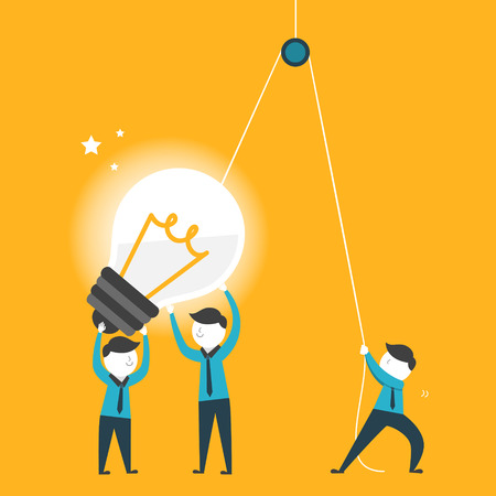 flat design for team work concept graphic over yellow