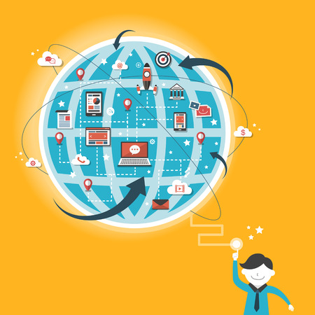 globális kommunikációs: Lapos kivitel a globális kommunikációs koncepció a sárgán Illusztráció