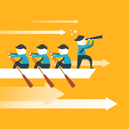 leadership: flat design for team work concept over yellow