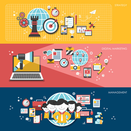 business success: flat design for business marketing concepts set Illustration