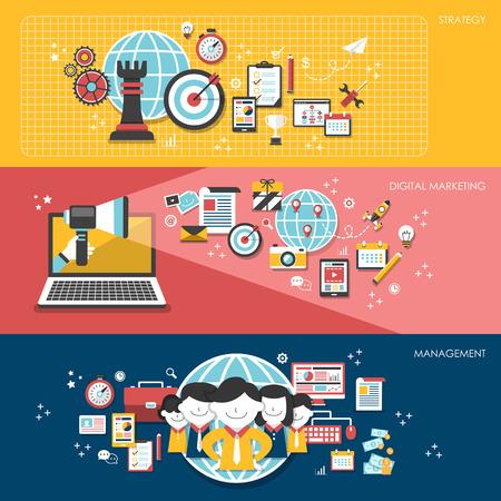 flat design for business marketing concepts set