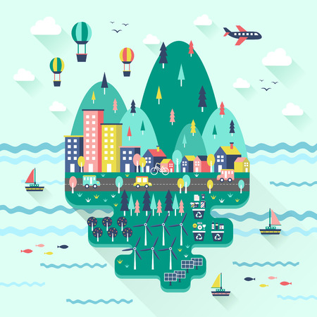 eco tourism: flat design for ecology concept graphic over blue