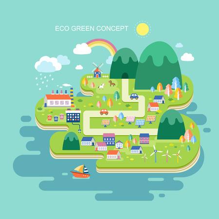 maison solaire: design plat pour concept graphique �co vert Illustration