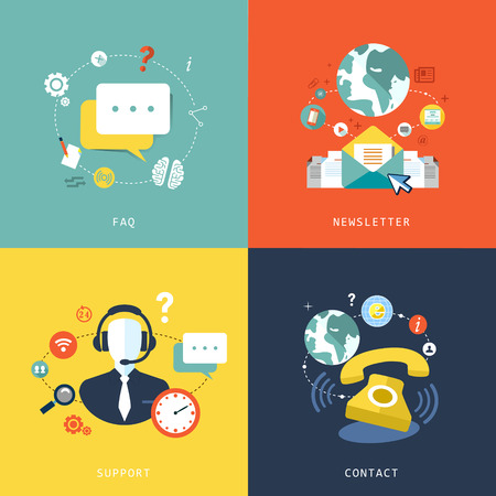 customer service phone: flat design for customer service concept graphic