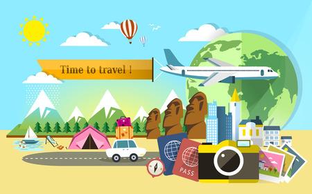 세계 배너 주위에 여행을위한 평면 설계 일러스트