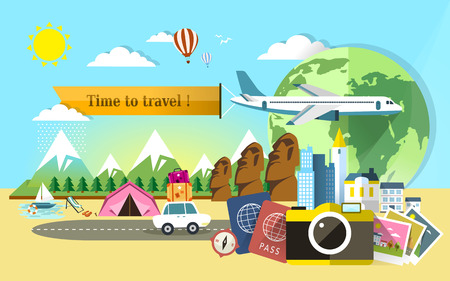 commercial activity: flat design for travel around the world banner