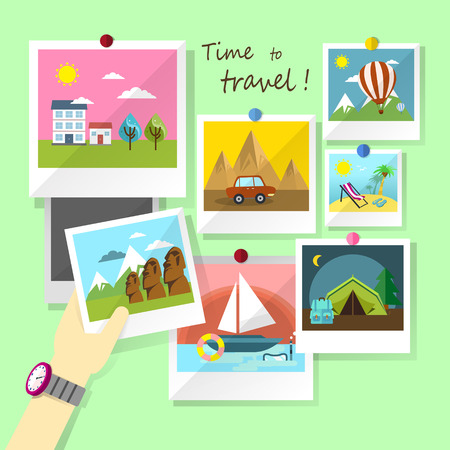 flat design for photos of traveling concept Vector