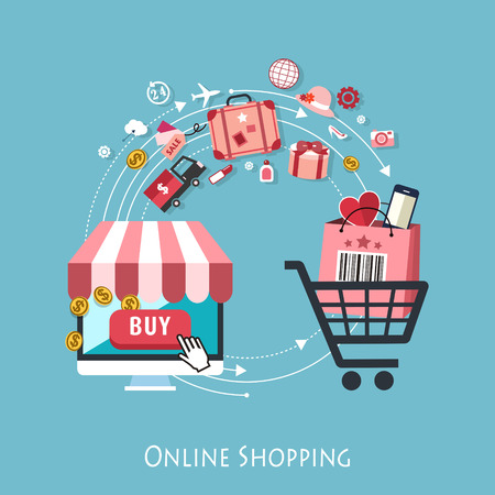 온라인 쇼핑 개념 그래픽의 플랫 디자인
