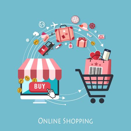 Design piatto per lo shopping online concept grafico Archivio Fotografico - 31266365