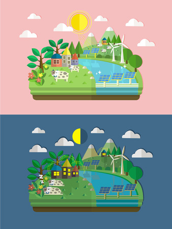 solar panel: flat design for ecology and green energy concept graphic