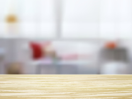 kitchen table top: closeup look of wooden desk and interior Illustration