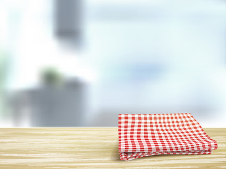 wooden shelf: closeup look of wooden desk and tablecloth in room Illustration